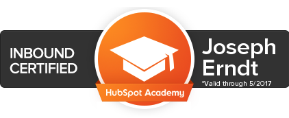 Hubspot inbound Certificate for Joseph Erndt of your design word